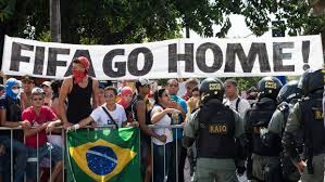 """Go Home FIFA"" can be seen throughout the streets as protestors voiced their disgusts against the government and the international football association."