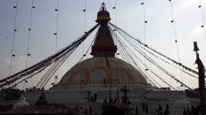 Boudhanath, where the Buddha's bones are said to be interred
